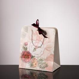 Punga nunta carton alb cu bujori plastifiat PT 24